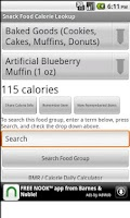 Screenshot of Snack Food Calorie Lookup