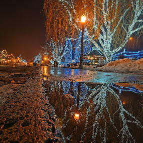 After Dinner 1 by Thomas Born - Public Holidays Christmas ( water reflection, night photography, christmas lights, reflections, cityscape )