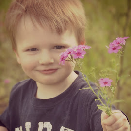 A Flower for you by Kristen Dustin - Babies & Children Toddlers ( nature, summer, toddler, flowers, outside )