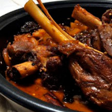 Braised Lamb Shanks with Dried Apricots, Plums, and Candied Ginger