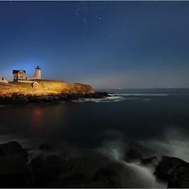 Cape Neddick Lighthouse by Dennis Ba - Landscapes Waterscapes ( nubble, maine, lighthouse, cape neddick )