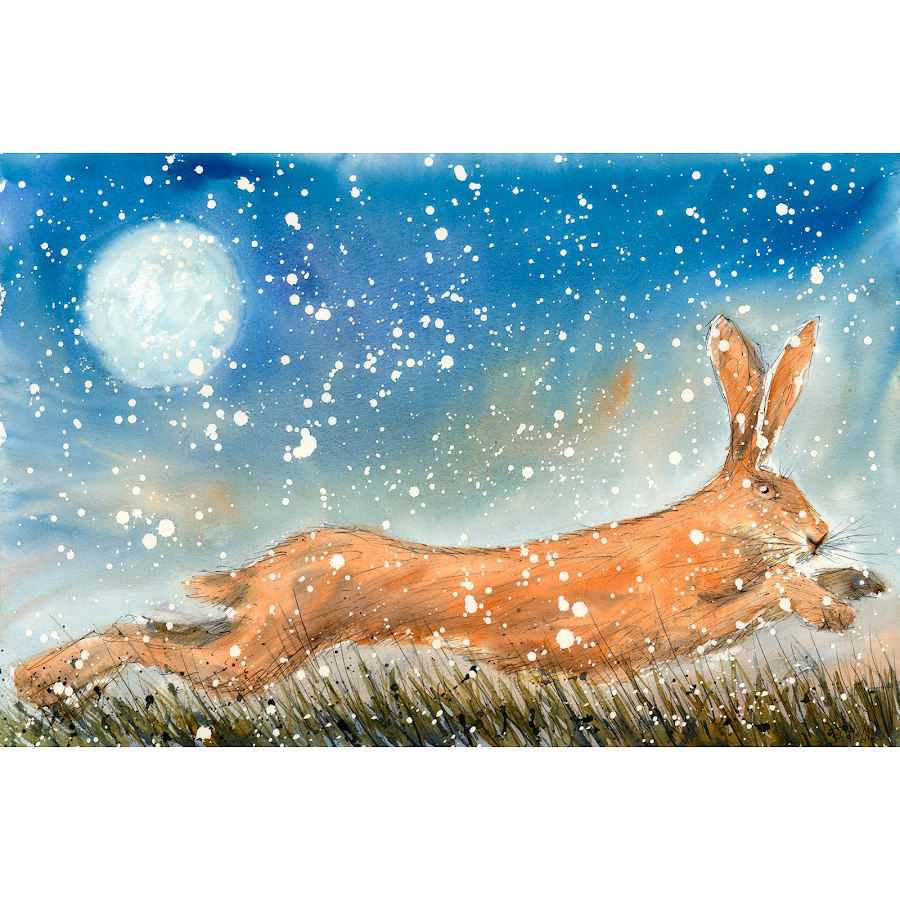 Picture christmas hare moon rabbit bunny wall art