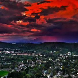 Simi Valley Sunset Clouds by Ken Wade - Landscapes Sunsets & Sunrises ( clouds, red, sunset, california, dramatic, simi valley, landscape,  )