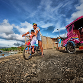 Me and my Pappi by Ferdinand Ludo - People Street & Candids ( dad and son biking, mactan island, along cordoba beah )