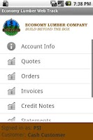 Screenshot of Economy Lumber Web Track
