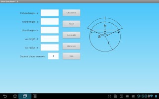 Screenshot of Chord Geometry Calculator