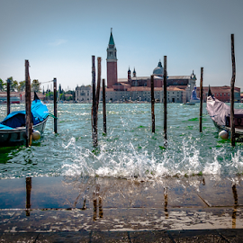 Venice Splash! by Jesus Giraldo - City,  Street & Park  Street Scenes ( water, reflection, splash, colors, boats, wave, venice, city )