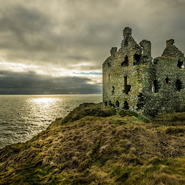 Dunskey Castle by Jim Bell - Buildings & Architecture Other Exteriors ( ancient, sky, portpatrick, ruin, cloud, sea, castle, dunskey )