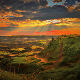 Horse Shoe Canyon by Joseph Law - Landscapes Caves & Formations ( in drumheller, bushes, dinosours city, horse shoe canyon, beautiful sky, shine upon, trails )