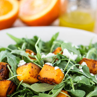 Roasted Butternut Squash and Arugula Salad with Ginger Orange Vinaigrette