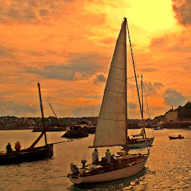 Going home by Ciprian Apetrei - Transportation Boats ( port, sunset, brittany, seascape, boat,  )