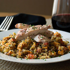Quinoa With Roasted Vegetables & Wine-glazed Chicken