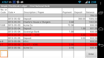 Screenshot of Simple Checkbook Ledger Free