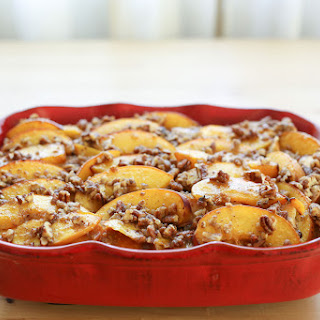 Peaches and Cream French Toast Casserole with Praline Topping