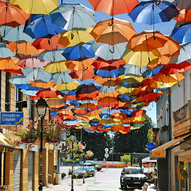 Umbrellas on the air by Antonio Amen - City,  Street & Park  Street Scenes ( umbrellas, shops, avenue, colors, street, city )