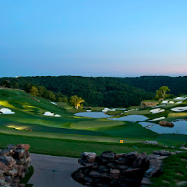 Driving Range After Sunset by Jackie Stoner - Sports & Fitness Golf ( golf driving range green sand traps sunset )