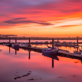 Burning waters by Ricardo  Guimaraes - Landscapes Sunsets & Sunrises ( warm, color, waterscape, sunset, boats, long exposure, quiet, burning, reflexion, portugal, landscapes, , #GARYFONGDRAMATICLIGHT, #WTFBOBDAVIS )