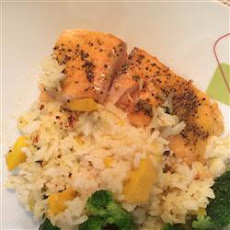 Baked Salmon with Tropical Rice