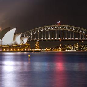 Lightning behind the opera by Adam Scarf - Buildings & Architecture Bridges & Suspended Structures ( lightning, australia, opera, house, storm, sydney )