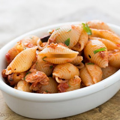 Tuna Tomato Pasta with Olives