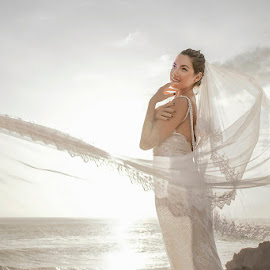 Hold Me by Amin Basyir Supatra - Wedding Bride ( love, bali, happy, beautifull, white, beach, beauty, smile, flare, bride )