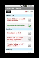 Screenshot of Newborn Baby Checklist