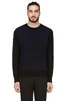Paul Smith Red Ear Black And Blue Mock Shearling Sweater