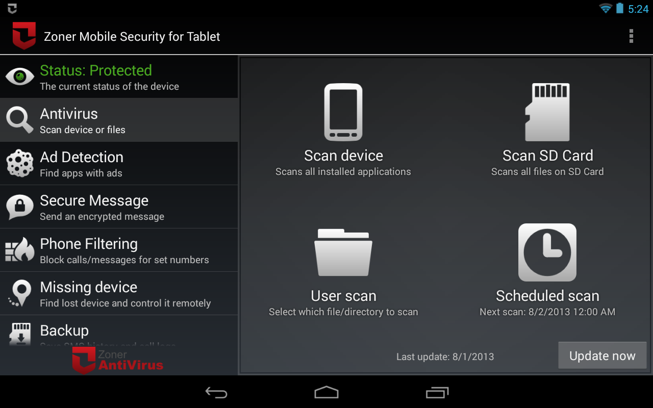 Zoner Mobile Security - Tablet Screenshot 4