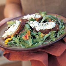 Farmers' Market Greens with Baked Goat Cheese Toasts