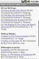 Screenshot of Works of Marcus Tullius Cicero