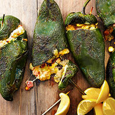 Grilled Cheesy Cannellini-Stuffed Poblanos