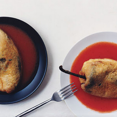 Cheese-Stuffed Poblanos with Tomato Sauce