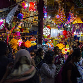 Busy Streets III by Sohil Laad - City,  Street & Park  Markets & Shops ( diwali, shopping by night, festival of lights, streets, people )