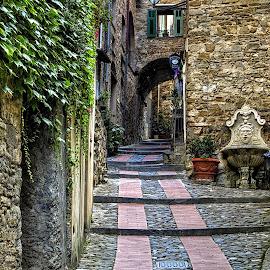 Castle street by Roberta Sala - City,  Street & Park  Street Scenes ( dolceacqua, hdr, street, rock village, italy, street photography )