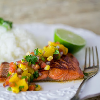 Teriyaki Glazed Salmon with Peach Salsa & Giveaway!