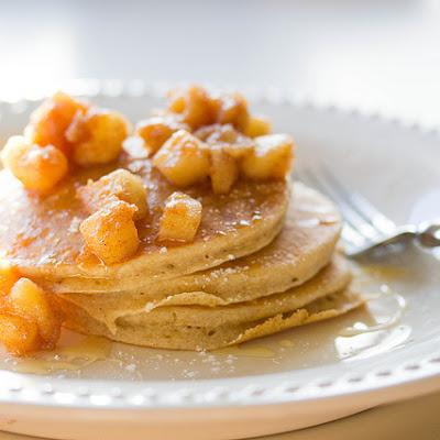 Lemon Ricotta Pancakes With Caramelized Apples