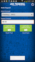 Screenshot of JAXFCU Mobile Check Deposit