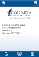 Screenshot of Columbia Insurance