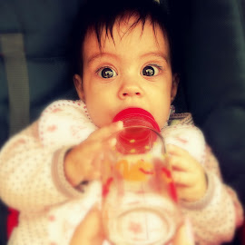 Whaaat?! :D by Katarina Papic - Babies & Children Toddlers ( babygirl, thirsty, bottle, watchout, surprise, eyes )