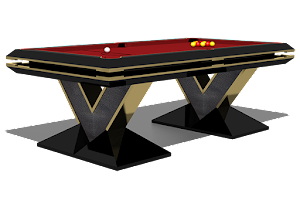 3D Animation of a Custom Designed Pool Table - Ebonised Finish with Shagreen and Brass Detailing