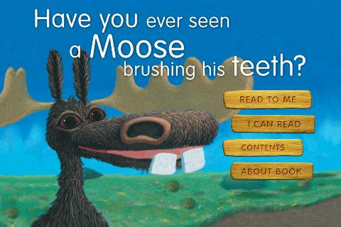 Moose brushing his teeth