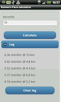 Screenshot of Runners Pace calculator