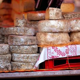 Cheese in French market by Marjorie Speiser - Food & Drink Meats & Cheeses ( old, market, village, cheese, french, exotic )