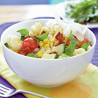 Cavatappi with Bacon and Summer Vegetables