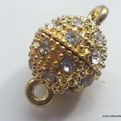 Gold plated Rhinestone Magnetic Clasp x1
