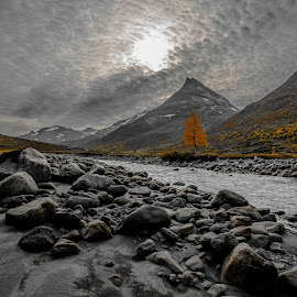 Leirdalen, Norway by Rita Birkeland - Landscapes Mountains & Hills ( clouds, orange color, less colors, mountains, sky, tree, autumn, autumn colors, leirdalen, river, norway )