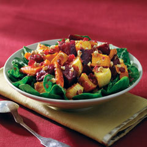 Roasted Root Vegetables Over Greens