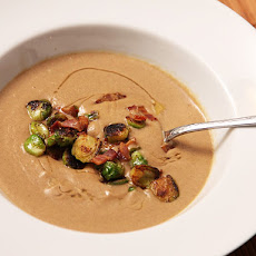 Brown Butter-Sunchoke Soup with Brussels Sprouts and Bacon
