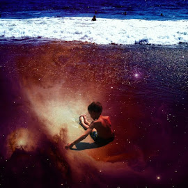 Swimming in space by Angela  H - Digital Art Places ( playing, water, iphoneography, iphoneart, effects, kids, beach )