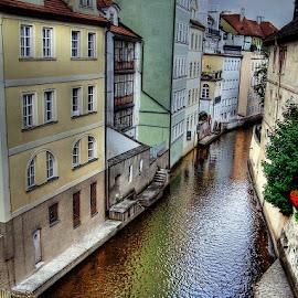 Colorful Street by Gabi Fulcher - City,  Street & Park  Street Scenes ( europe, creek, street, buildings, prague, river )
